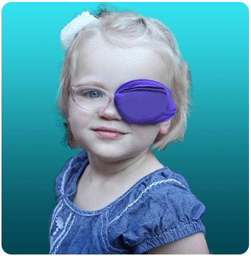 Girl wearing Framehugger nylon eye patch